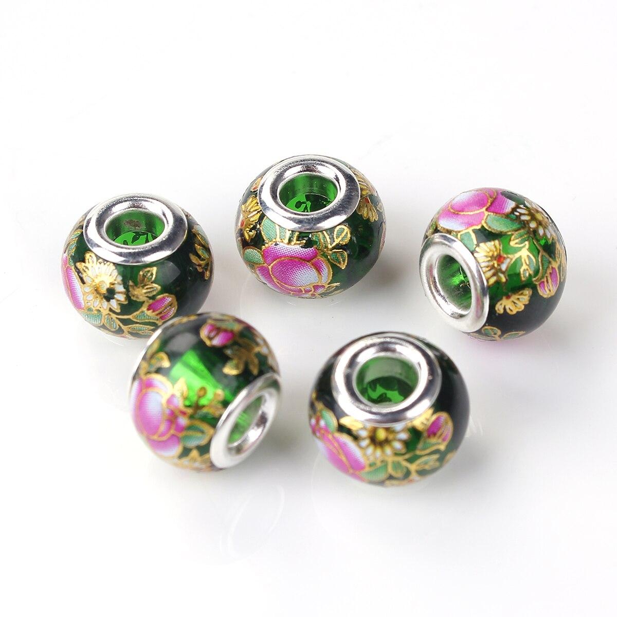 5pcs Black Glass Crystal Beads lampwork For European Bracelet/&Bangle