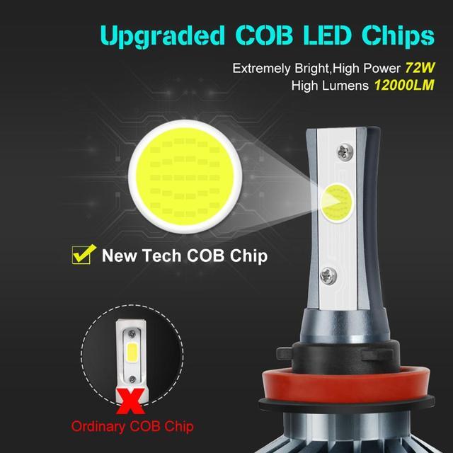 Ampoules de phares de voiture | Modèle H1 H3 H27 H7 H11 HB3 880/HB3 9005/HB4 H4 9006 HB1 12V 72W 6000K 12000LM/paire de phares automobiles
