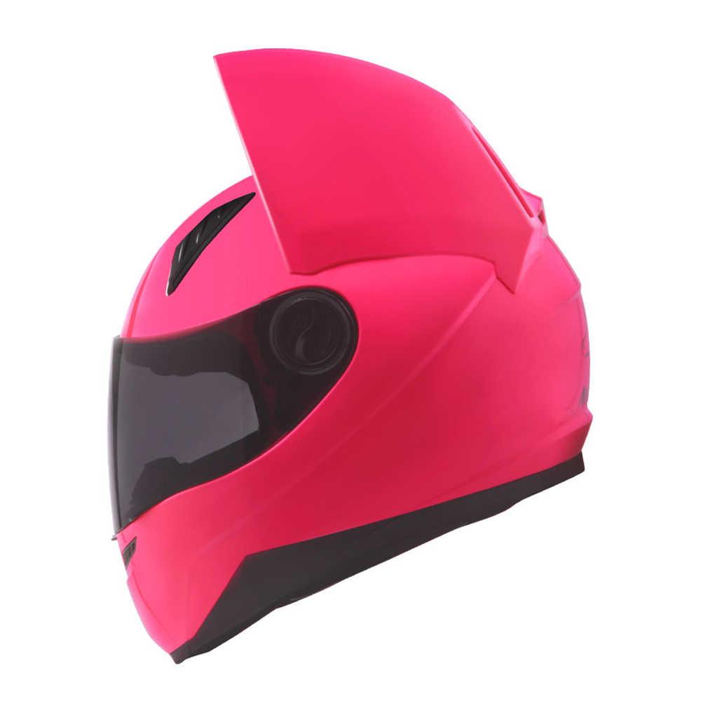 NITRINOS Moto Casco Casco Moto Da Corsa Casco Corna Cat Casco Integrale Viso Casque Casco Moto Casco Capacete, Rosa
