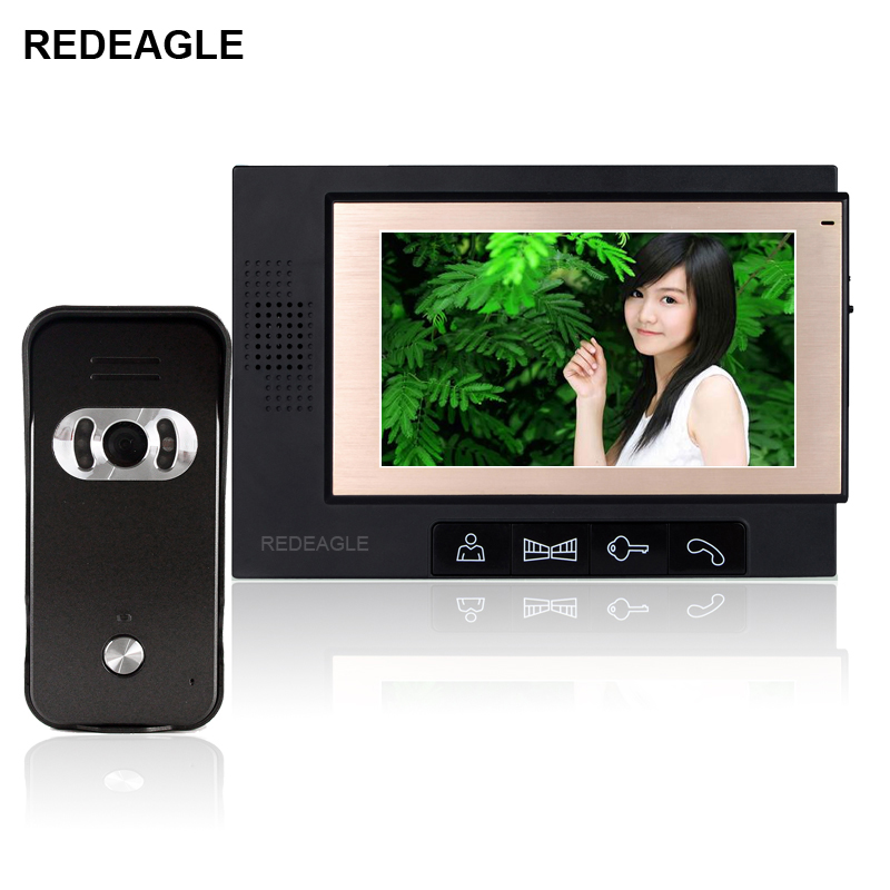 REDEAGLE Home Color Video Door Phone Doorbell Intercom System With 7 Inch TFT LCD Screen and Night Vision Wide Angle Camera 7 inch color tft lcd wired video door phone home doorbell intercom camera system with 1 camera 1 monitor support night vision