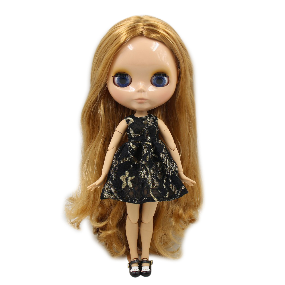 Factory blyth doll joint body tan skin BL331 golden hair 30cm 1/6, gift for girl factory blyth doll joint body 1 6 doll blyth 2 braids central cut hair with light makeup for diy 19 joints body toy for girl