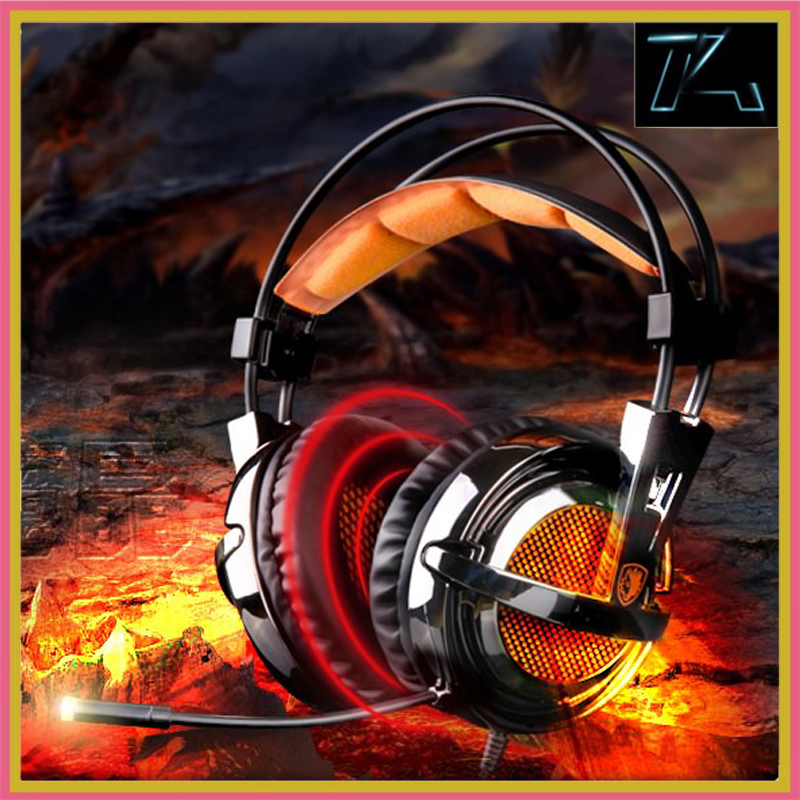 SADES A55 Gaming headset headband wired vibration headphones stereo volume control super bass LED light with Mic for computer