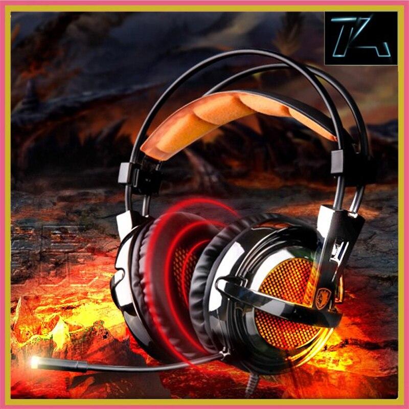 bilder für SADES A55 Gaming headset stirnband wired vibration kopfhörer stereo super bass FÜHRTE licht mit Mic für computer