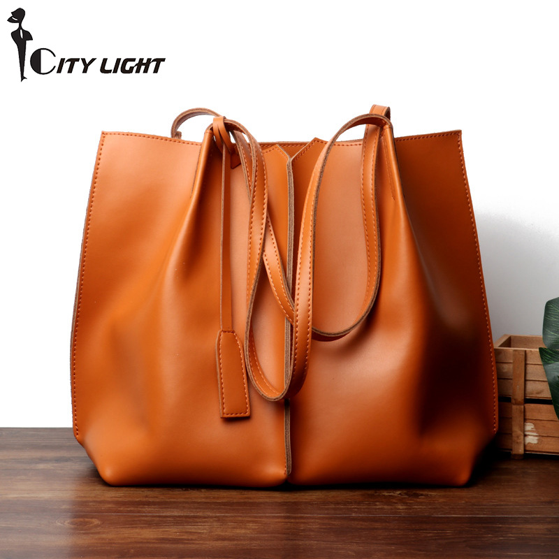 New Genuine Leather Fashion Women Bags Casual High capacity Composite Bag Female Handbag Shoulder Messenger Bags Soft