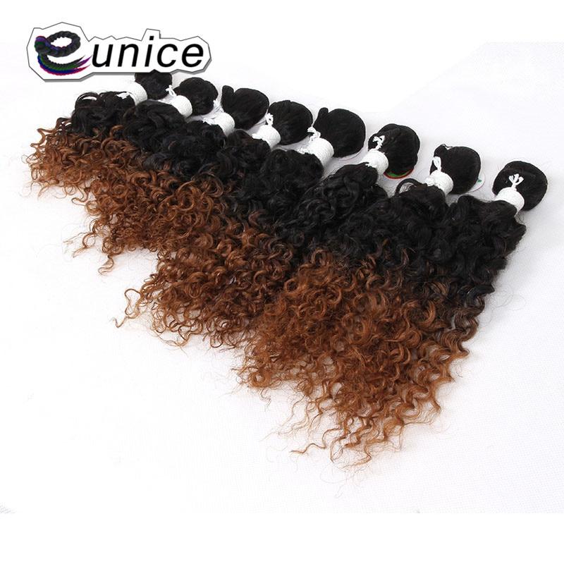 Юнис волосы курчавые переплетения 2 Tone Ombre Синтетические пряди для наращивания волос 8-14 дюйм(ов) T1B/#27/30/ бордовый двойной уток Бесплатная дос...