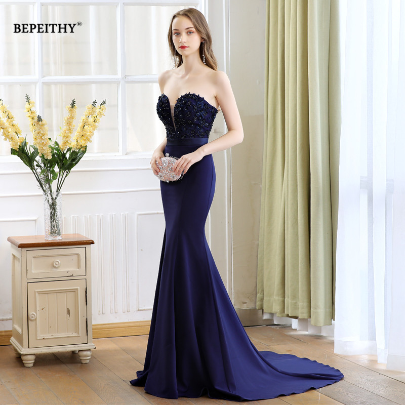 Vestido De Festa Long   Prom     Dresses   2019 Sweetheart Mermaid Sweep Train Lace Bodice Evening   Dress   Party Elegant Robe De Soiree
