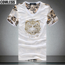 New 2017 Men Casual Fashion Clothes Summer Style Cotton Mesh Hollow Out Cool T Shirts Animal