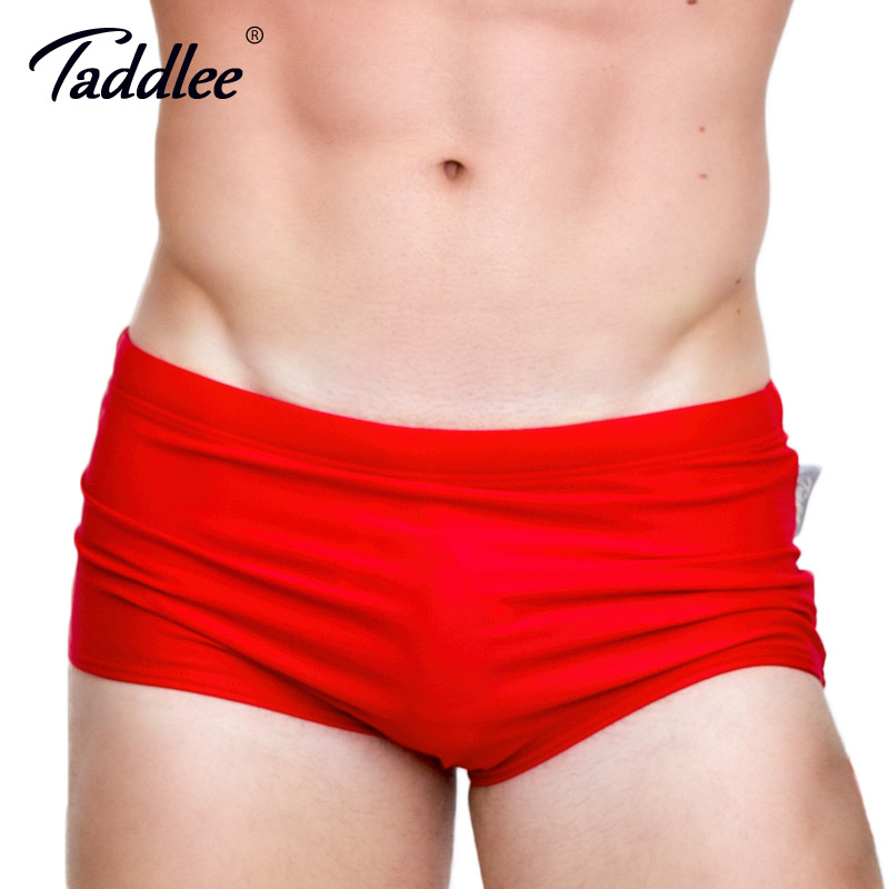 Taddlee Brand Män Baddräkter Baddräkter Baddräkt Boxer Briefs Solid Färg Sexiga Män Simning Surfing Board Shorts Gay Basic Brazilian