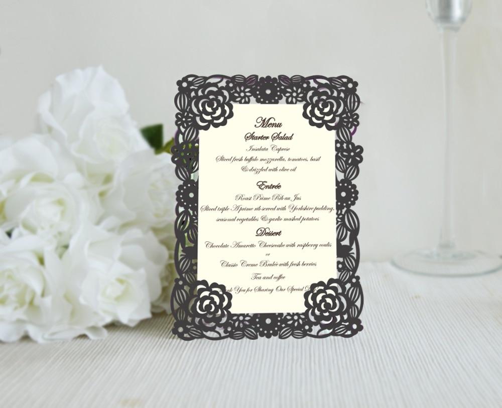 30pcs laser cut menu cardsflower design handmade invitation card diri desain 30 pcsset elegant flora desain laser cut muti warna menu untuk pernikahan stopboris Choice Image
