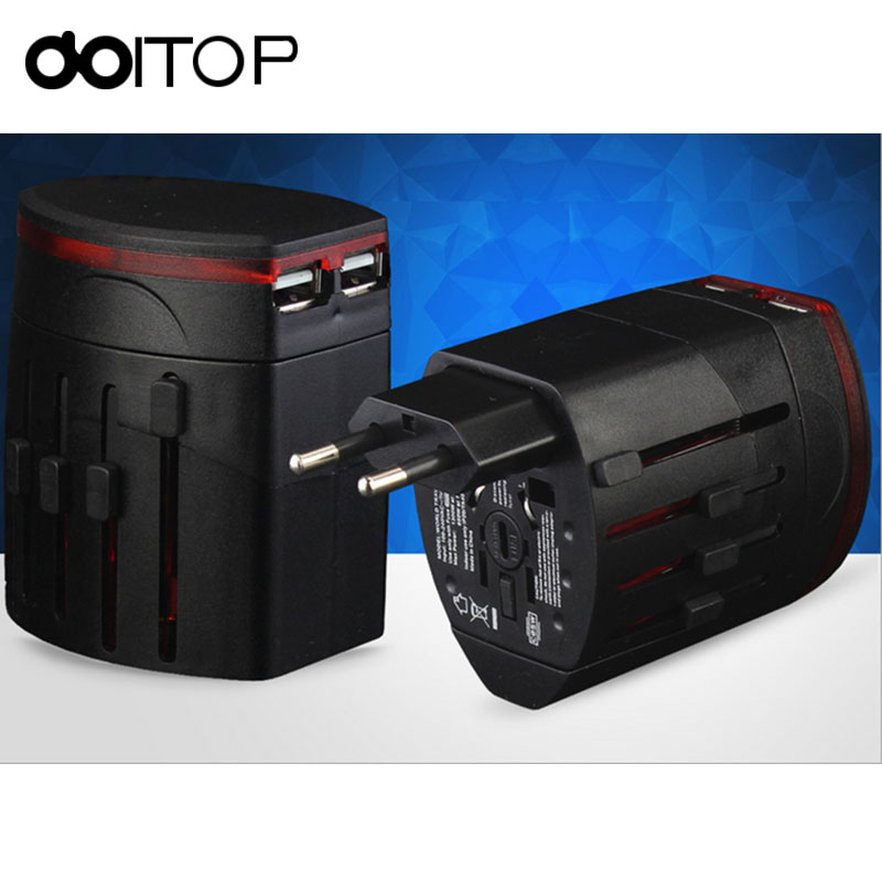 DOITOP Universal Electric Plug Socket Adapter International Travel Adapter Socket USB Power Charger Converter 100-240V Power