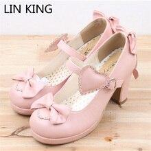 LIN KING Туфли-лодочки Лолита в стиле Harajuku туфли на высоком каблуке из лаковой кожи однотонные маскарадные туфли с бантом милые женские туфли Mary Jane обувь для вечеринок