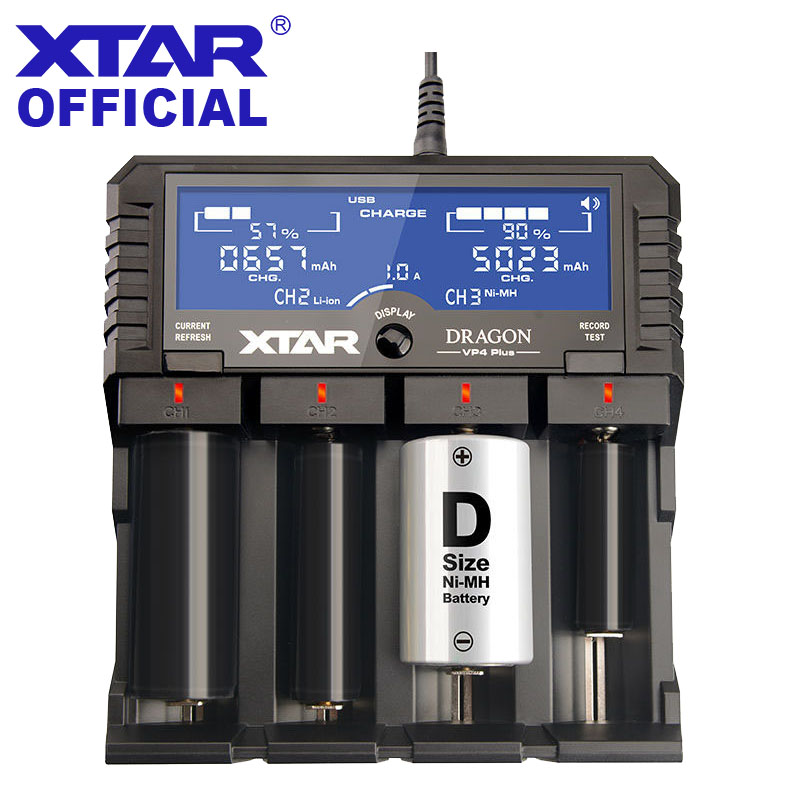 XTAR DRAGON VP4 PLUS Smart Battery Charger Set Pouch Probes Adapter Car Charger Fast Charging Cargador 18650 Battery Charger 18650 li ion battery charging stand in car charger travel charger set black