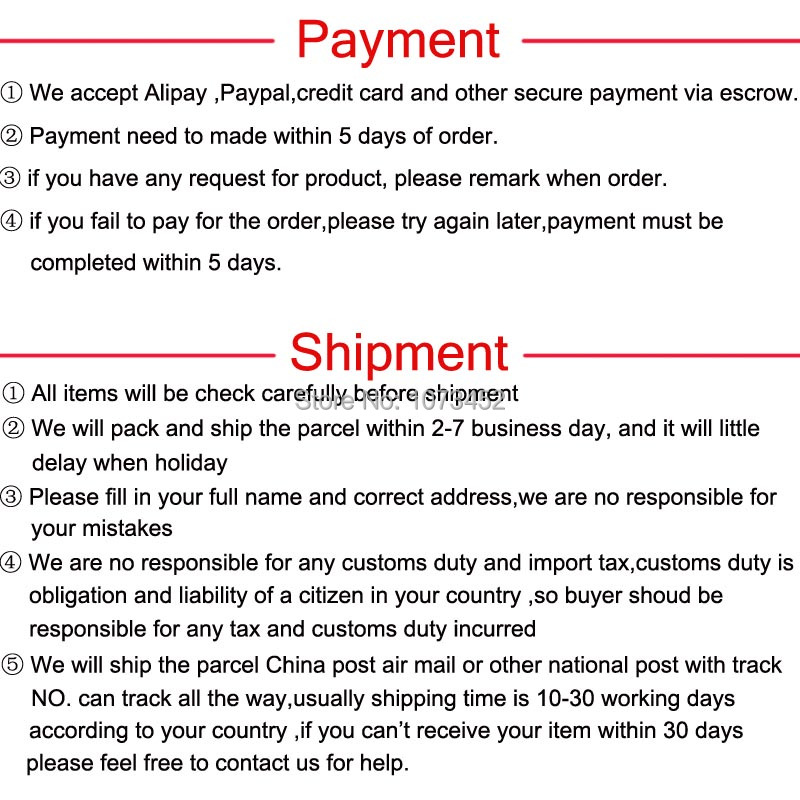 payment shipment