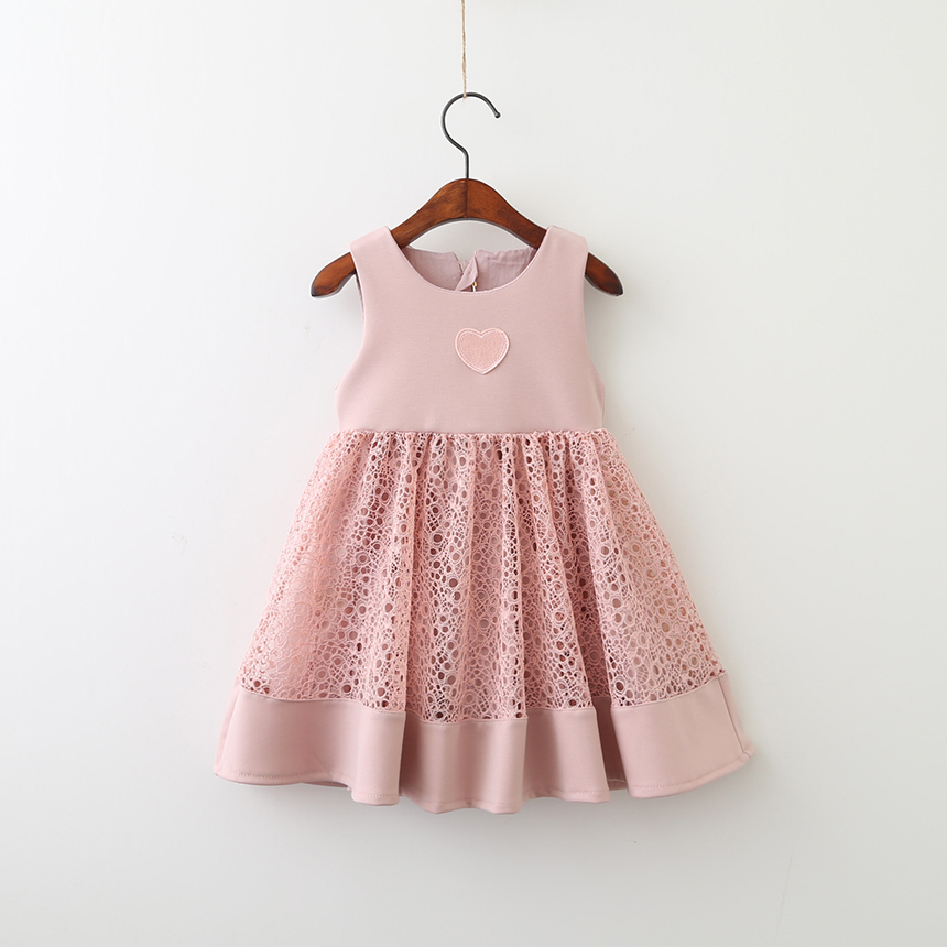 Clothing Embroidery Wholesale Children Floral Kids Boutique Clothes Baby Girls Princess Flower Heart Dress Sleeveless 5pcs/LOT