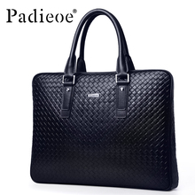 Padieoe Classic Design Famous Brand Leather Mens Antique Briefcases Promotional Casual Business Men Bags Knit Messenger Bags