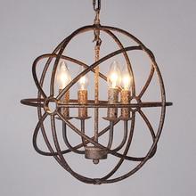 Creative Round Iron pendant lights Retro Penthouse Garden Restaurant Bar Clothing Shop Lighting 4/6/8heads pendant lamps ZA