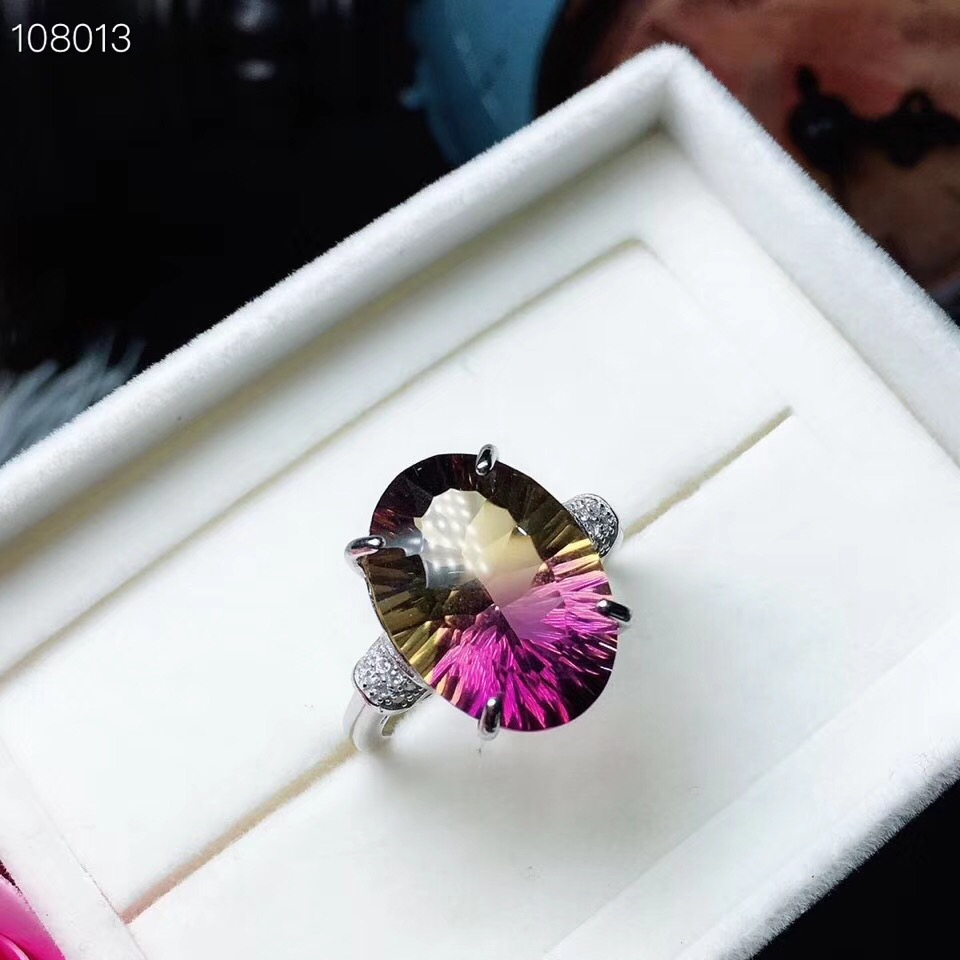 Uloveido Rare Gemstone Natural Ametrine Lady Ring 925 Sterling Silver Ring for Women Ladies Ring with