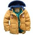 9-10 Лет девочки мальчики пальто и куртки 2016 осень зима корейских мальчиков с капюшоном пальто толстый хлопок теплые детские зимние пальто девушки