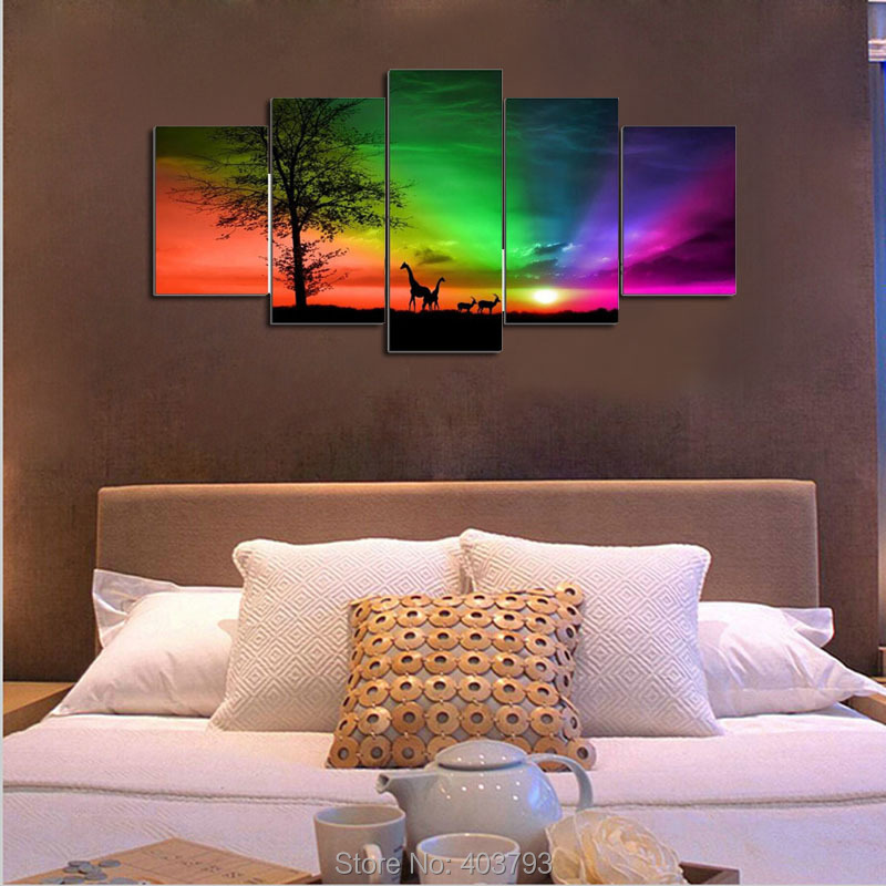 HD Painting Canvas Prints No Frame 5 Panel Colorful Sky and African Animals Painting Wall Art Print On Canvas Modern Home Decor