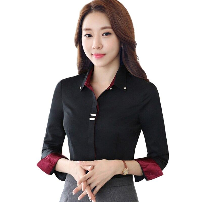 High quality long sleeve blouses elgegant women cotton blouses fashion design white shirt formal blusas work wear(China)