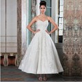 Vestido De Noiva Hot Sale 2016 Contry Style Sweetheart Lace Appliqued Ankle-length Wedding Dress for Bride with Buttons on Back