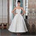 Vestido De Noiva venda quente 2016 campanha Lace querida Appliqued tornozelo De comprimento Vestido De Noiva com botões De volta