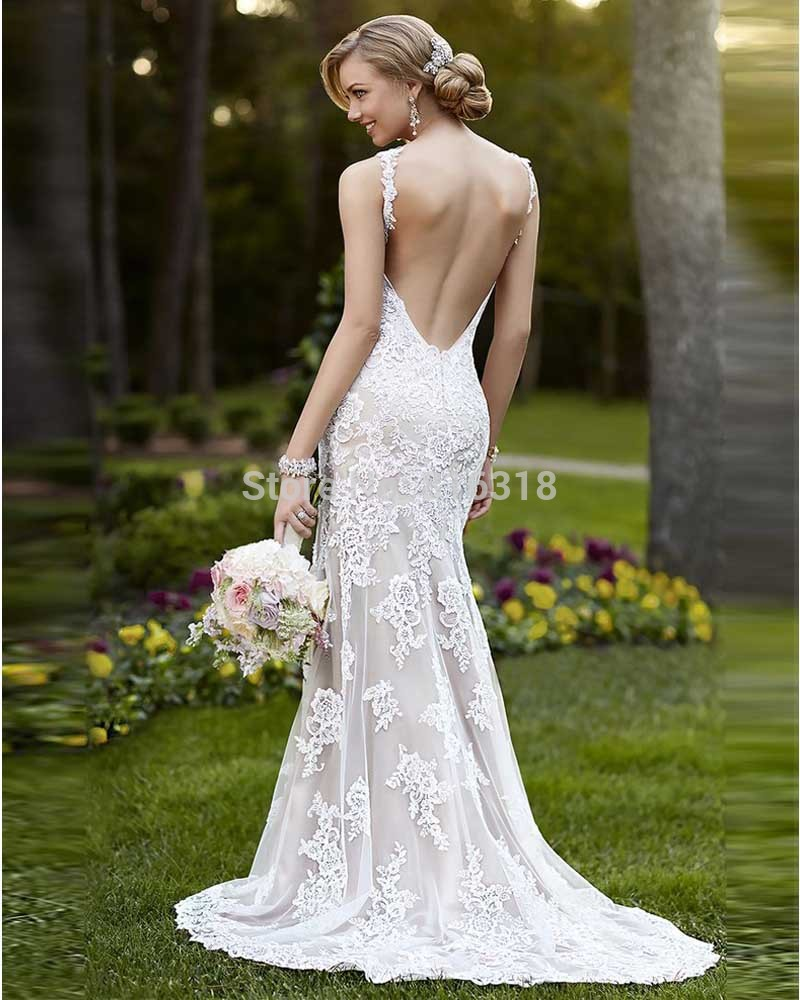 Vestidos De Noivas Sheath Wedding Dresses Sweep Train Sexy Backless Dress 2017 Lace Bride Gown Abiti Da Sposa In From Weddings