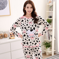 2019 New Autumn Casual Cotton Long Sleeve Women Pajama sets Cute Cartoon Sleepwear Women Striped Pyjama Plus size XXL 3XL