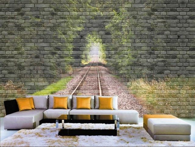 Modern Slaapkamer Behang : Custom d behang muurschildering retro tunnel brick wall