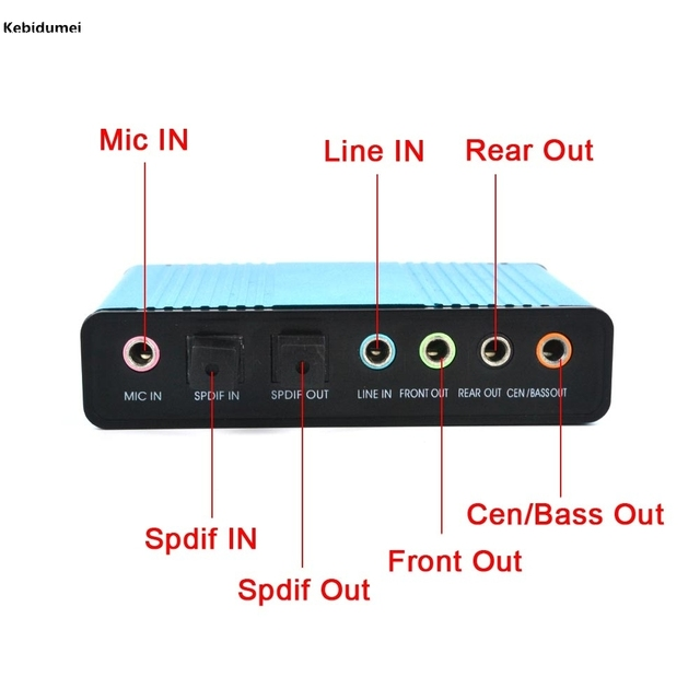 USB 2.0 Sound Card 6 Channel 5.1 Optical External Audio Card SPDIF Controller CM6206 Chipset for PC Laptop Desktop Tablet