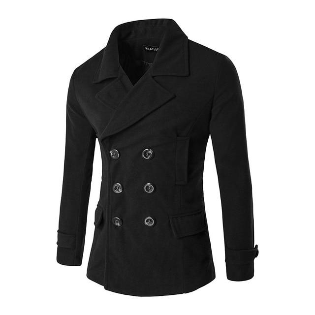 c9c566daa85 Double Breasted Winter Coat Men 2016 Brand New Men Coats Overcoats Slim Fit  Peacoat Mens Fashion