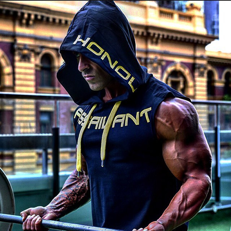 GYMPXINRAN 2019 Mens Cotton Hoodie Sweatshirts fitness clothes bodybuilding   tank     top   men Sleeveless Trend Tees Shirt Casual vest