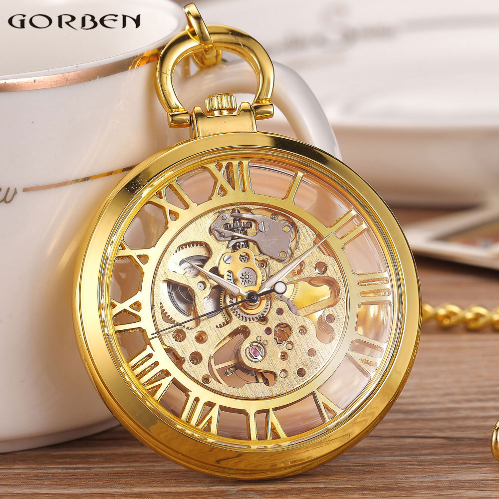 Golden Black Fashion Men Vintage Hand Wind Pocket Watch Transparent Roman Number Antique Cool Mechanical Pocket Watch With Chain купить