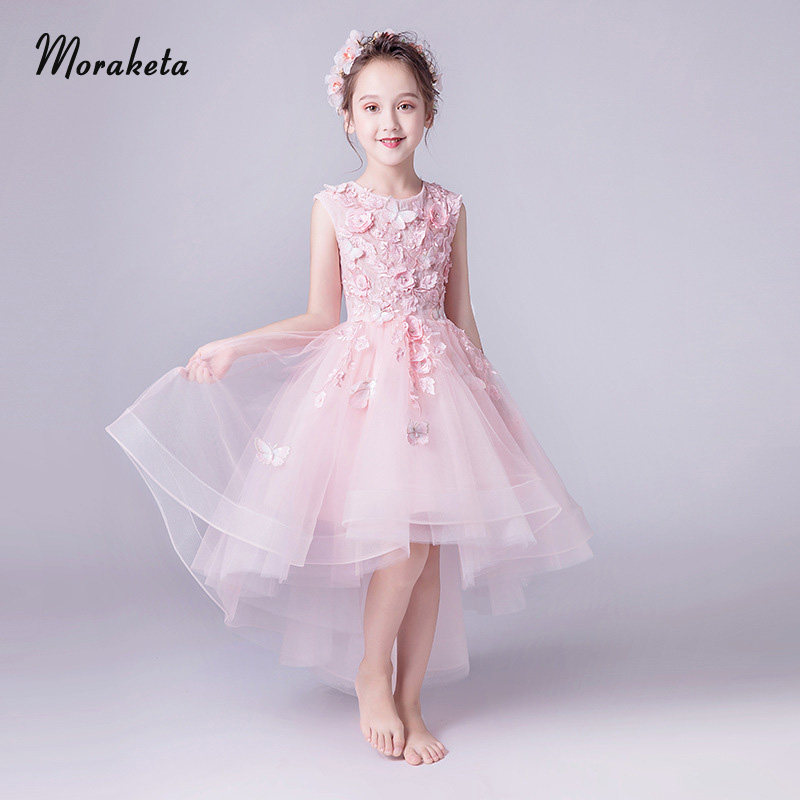 Sleeveless Princess High Low Little   Girls   Birthday Party   Dress   2019 Pink Short Front Long Back   Flower     Girl     Dresses   For Wedding