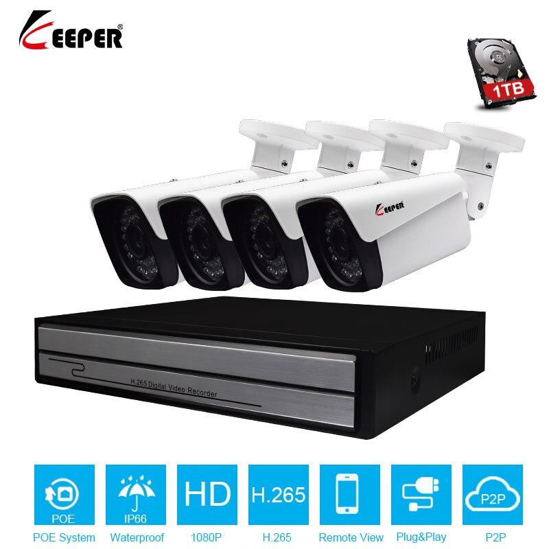 Хранитель 4CH 1080P HDMI POE NVR CCTV Системы 2MP открытый IP66 IP Камера P2P Onvif видеонаблюдения комплект Детектор движения приложение просмотра
