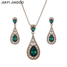 jiayijiaduo Wedding Women Jewelry Sets Gold Color Necklace Earrings Green Drop Rhinestone Pendant For Party Dress Accessories(China)