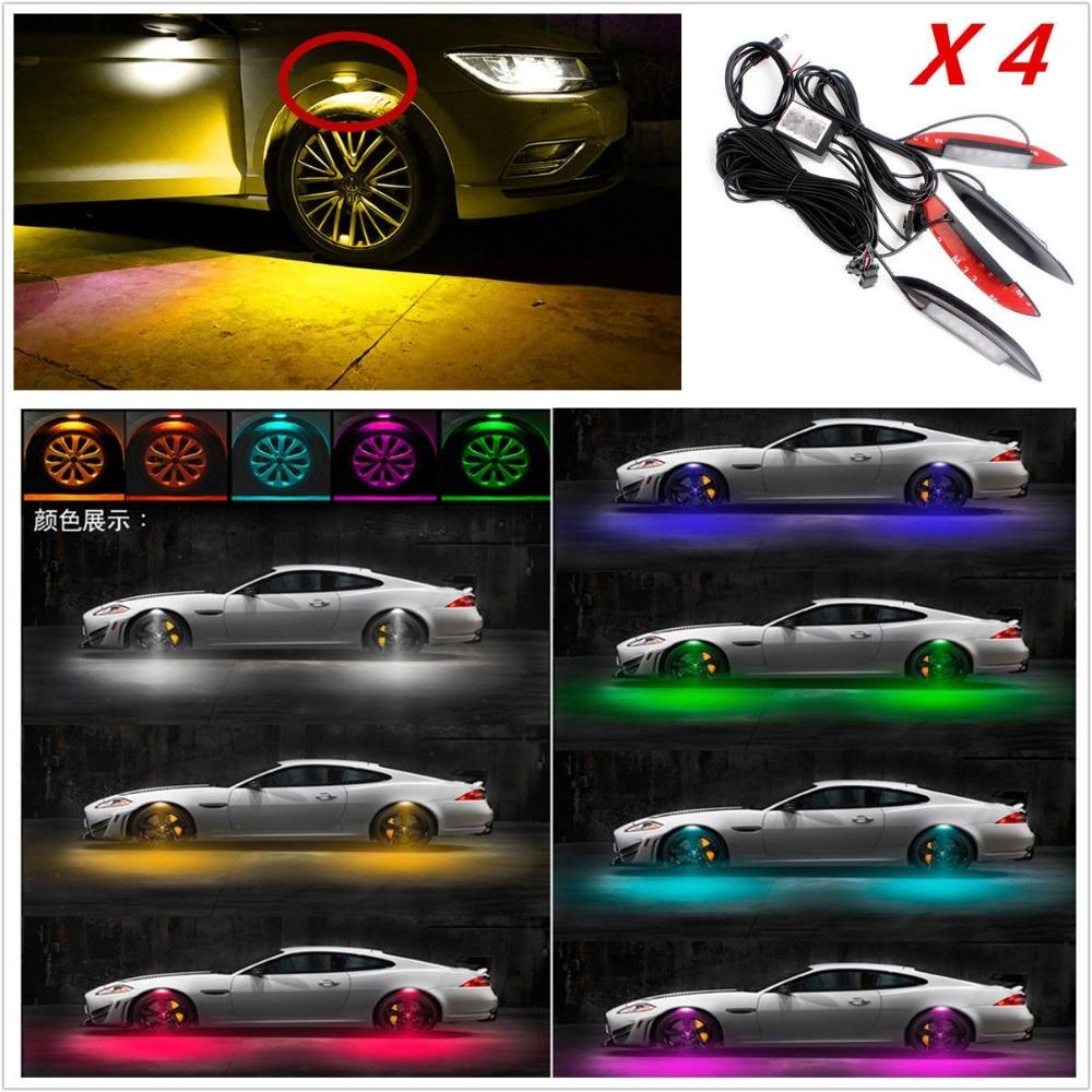 Универсальный многоцветный автомобиль крыло колеса бровь СИД света автошины света Вт/пульт дистанционного