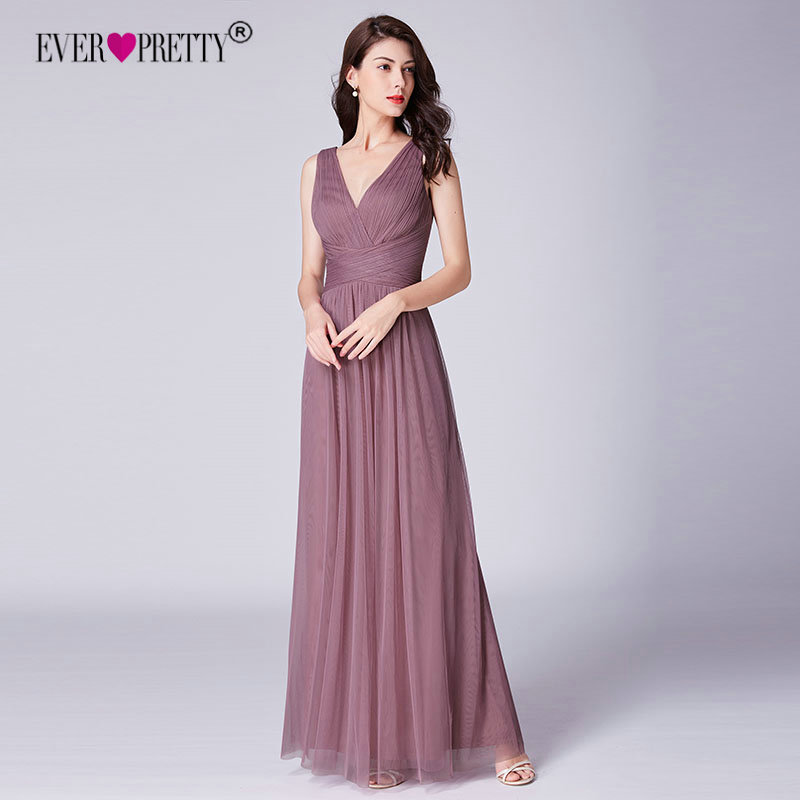 New   Bridesmaids     Dresses   2018 Ever Pretty EP07526OD Elegant A Line V Neck Long Tulle Pleated Wedding Party Gowns Robe Mousseline