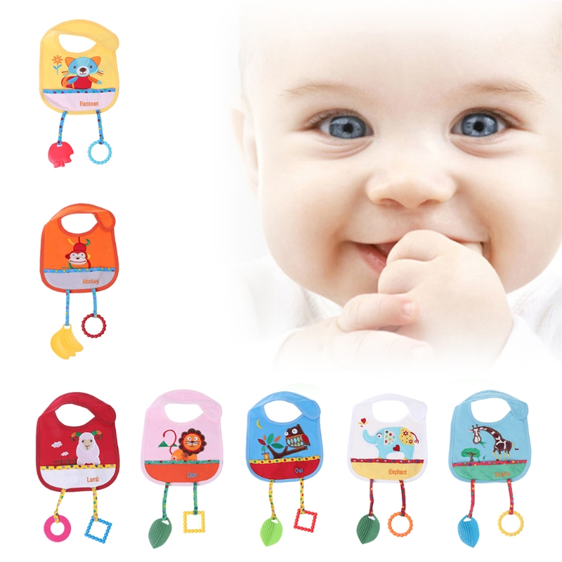 Baby Bibs With Silicone Teether Animal Cartoon Cute Blend Cotton Feeding Towels-M15
