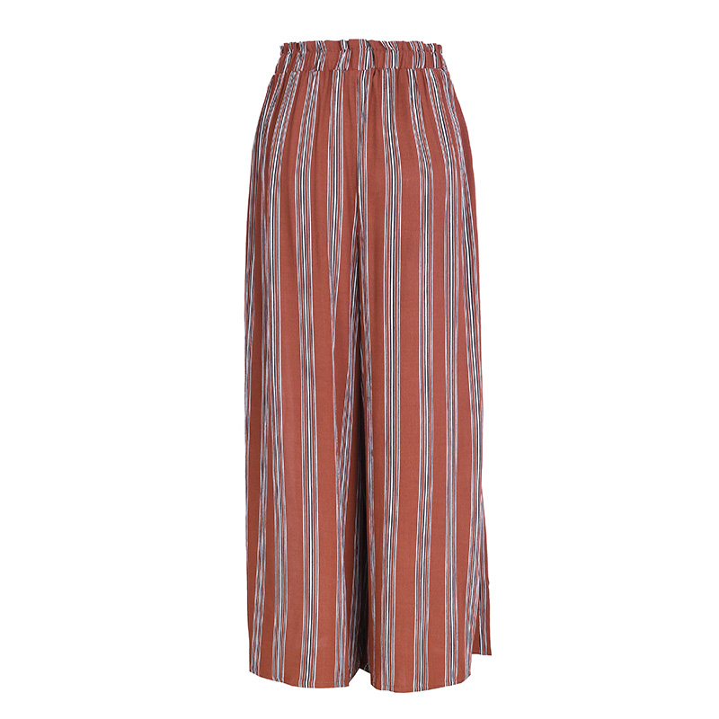 High Split Stripe Wide Leg Pants