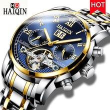 цена HAIQIN Luxury Brand Men Watch Automatic Mechanical Watches Tourbillon Waterproof Sport Clock Reto Wristwatch Relojes Hombre 2018