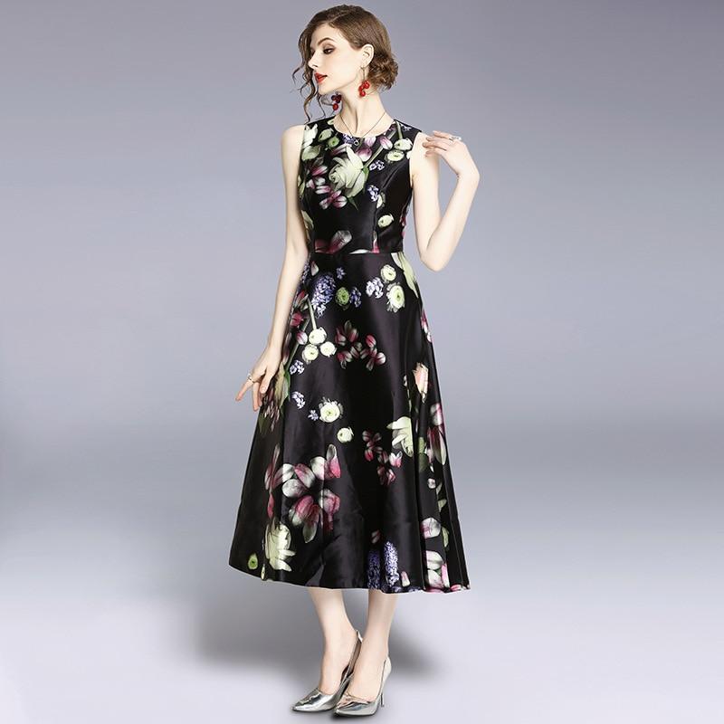 2018 Pistes Imprimer Mode Haute De Ligne Ol Designer Qualité Robe D'été Floral Noir Sans Une Nouveau Élégante S473 Manches F1l3KTJc