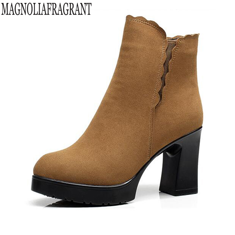 fashion Genuine Leather women ankle boots high heels winter motorcycle Women's boots platform shoes woman botas mujer k551 mabaiwan retro brown ankle boots for women metal decor autumn winter botas mujer genuine leather platform rubber shoes woman