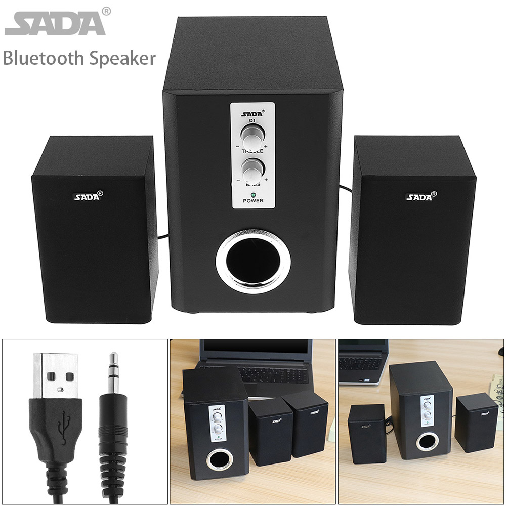 SADA Full Range 3D Stereo 2.1 Subwoofer Wireless Bluetooth PC Speaker Portable bass Music DJ USB Computer Speakers For Phone TV usb wireless bluetooth audio receiver board mp3 music computer subwoofer stereo mini portable active hifi speaker for phone