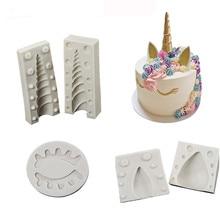 1PC/ 2PCS Unicorn/Ear/Eye silicone mold fondant cake decorating tools chocolate gumpaste mould