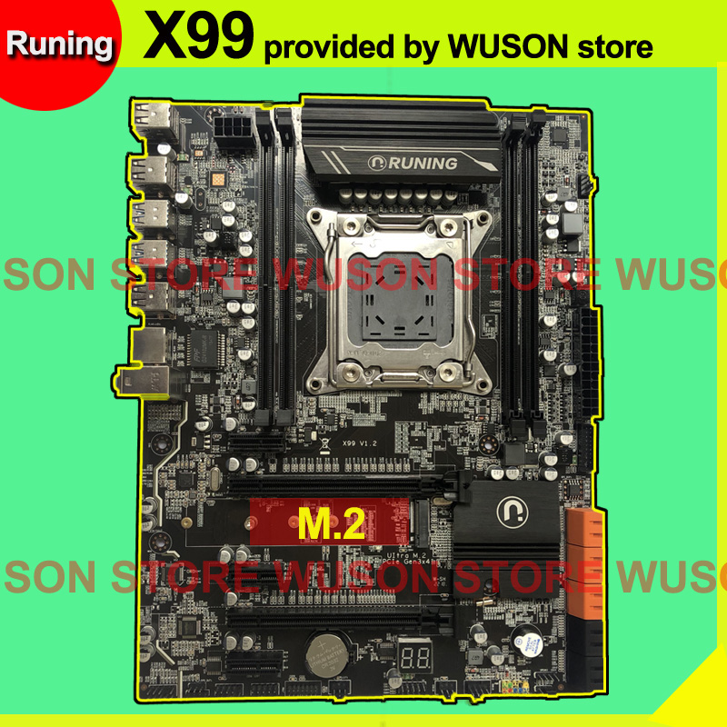 Marca runing desconto x99 LGA2011-3 placa-mãe com m.2 nvme slot para xeon v3 v4 cpu ram ddr4 4 4 canais 6 * usb3.0 10 * sata3.0