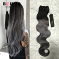 BQ HAIR Mink 8A  Dark Grey Color Ombre Malaysia Body Wave Human Hair 3pcs/lot 10-18Inches Fast Shipping No Smell No Shedding