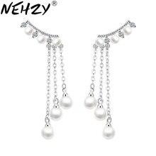 NEHZY 925 sterling silver dei monili della donna di modo di Marca femminile Orecchini A Pendaglio Lungo nappa esagerato orecchini di perle