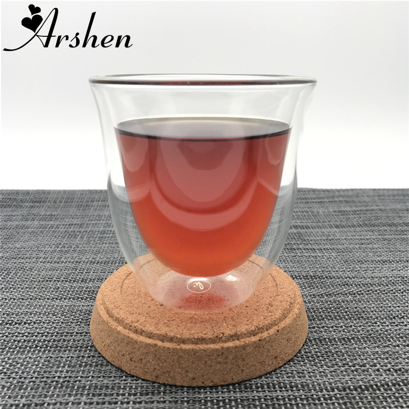 Arshen 180ml Double Wall Glass Handmade Heat Resistant Coffee Mug Tea Cup Healthey Party Dinner Drink