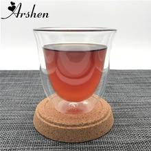 Arshen 180 ml Resistentes Al Calor de Doble Pared de Vidrio Hecho A Mano Taza de Café Taza de Té Healthey Dinner Party Tazas de Bebidas de Vidrio Aislante tazas